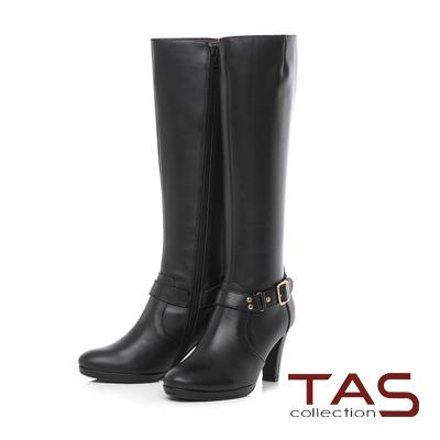 TAS 金屬皮帶扣折線素面牛皮高跟長靴-帥氣黑