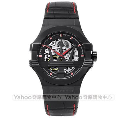 MASERATI 瑪莎拉蒂自信風範真皮鏤空機械錶-黑X紅/42mm