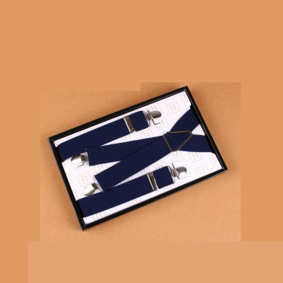 拉福  吊帶X夾紳士吊帶附紙盒(深藍)