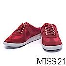 拖鞋 MISS 21 街頭隨性拼接綁帶休閒拖鞋-紅