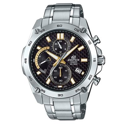 EDIFICE碳纖維編織感扇形錶眼設計腕錶(EFR-557CD-1A9)-黑面X金刻46.7mm