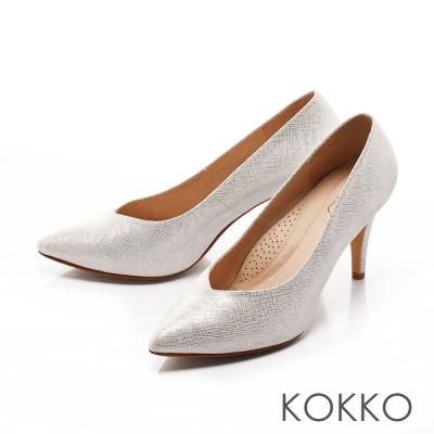 KOKKO-經典尖頭桃心口真皮優雅高跟鞋-點點銀