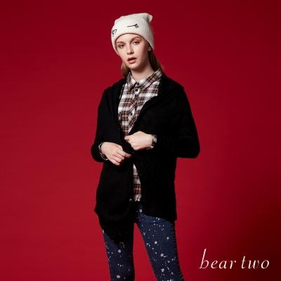 beartwo 鬆領不對稱排釦長版針織長袖外套(二色)