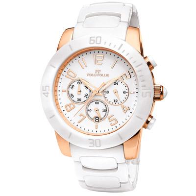 Folli Follie 自信魅力時尚陶瓷腕錶-白x玫瑰金/43mm