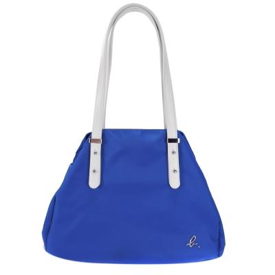agnes b. 金屬b素面圓弧肩背托特包(小/藍)