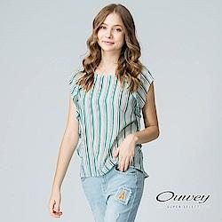 OUWEY歐薇 優雅荷邊拼接連袖上衣(綠)