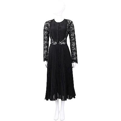 ERMANNO SCERVINO 簍空蕾絲拼接黑色絲質百褶洋裝