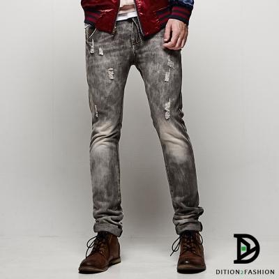 DITION-高磅多重水洗貓爪DENIM灰色丹寧牛仔褲-釘扣