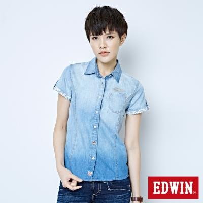 EDWIN 雙口袋棕梠印花短袖牛仔襯衫-女-拔洗藍