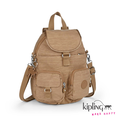 Kipling-後背包-沙褐色素面