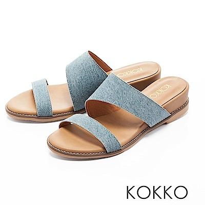 KOKKO-忘憂森林真皮寬版簡約涼拖鞋-天空藍