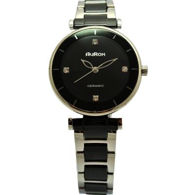 AuRox歐銳時 都會雅漾陶瓷不袗石英錶(AR0524-優雅黑)-34mm