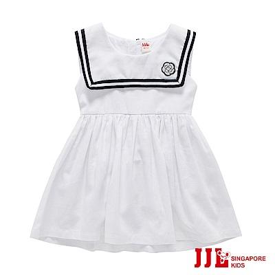 JJLKIDS 可愛海軍風棉質無袖洋裝(白色)