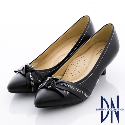 DN-氣質甜心-MIT全真皮蝴蝶結尖頭跟鞋-黑