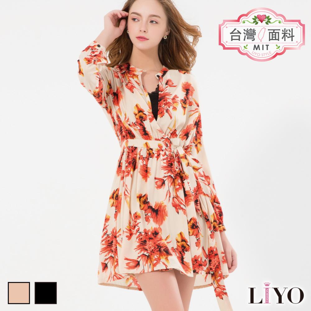 LIYO理優MIT浪漫印花洋裝(卡其,黑)-動態show