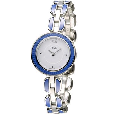 FENDI 芬迪 MY WAY 經典美學時尚腕錶-白x藍/28mm