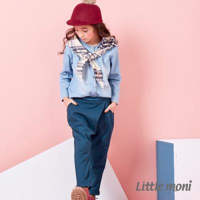 Little-moni-復古寬版老爺褲-深綠
