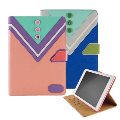 Savanna iPad Air 學院風鈕扣拼接可立式皮套