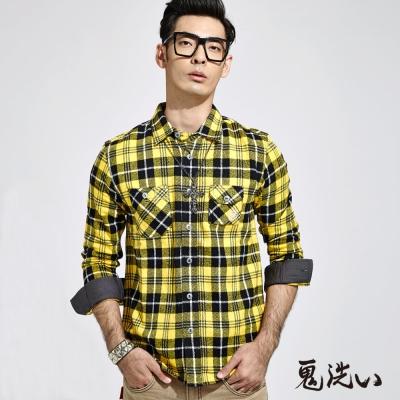 鬼洗 BLUE WAY 法蘭絨格紋長袖襯衫-黃黑格紋
