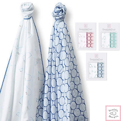 Swaddle Designs 法蘭棉絨及薄棉羅紗嬰兒包巾2入禮盒-圈圈小鳥
