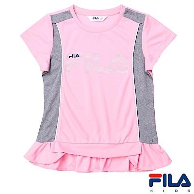 FILA KIDS 女童吸濕排汗上衣-粉紅5TES-4411-PK