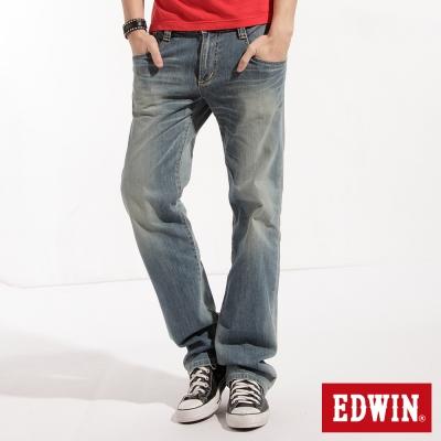 EDWIN無拘束感-BT牛皮袋蓋中直筒牛仔褲-男款-漂淺藍