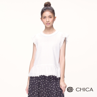 CHICA 法式柔美純淨感荷葉邊袖拼接上衣(1色)