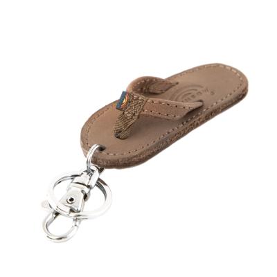 Rainbow Sandals品牌限量經典拖鞋麂皮鑰匙圈-棕色