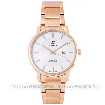 SIGMA 簡約藍寶石鏡面時尚女手錶-白X玫瑰金/30mm