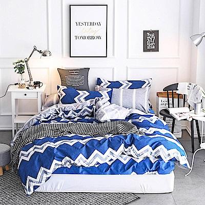 Ania Casa簡愛條紋 雙人四件式 柔絲絨美肌磨毛 台灣製 雙人床包被套四件組