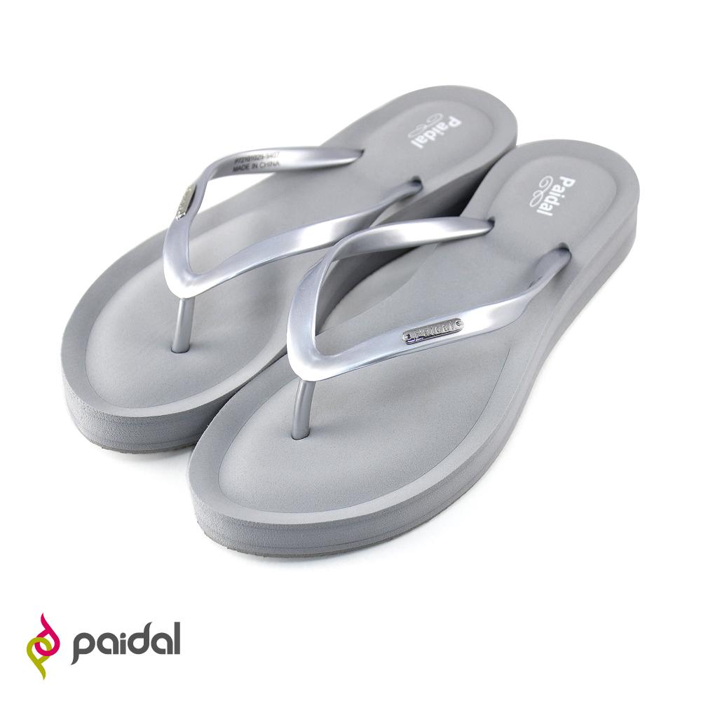 Paidal 氣墊美型夾腳拖鞋-銀灰