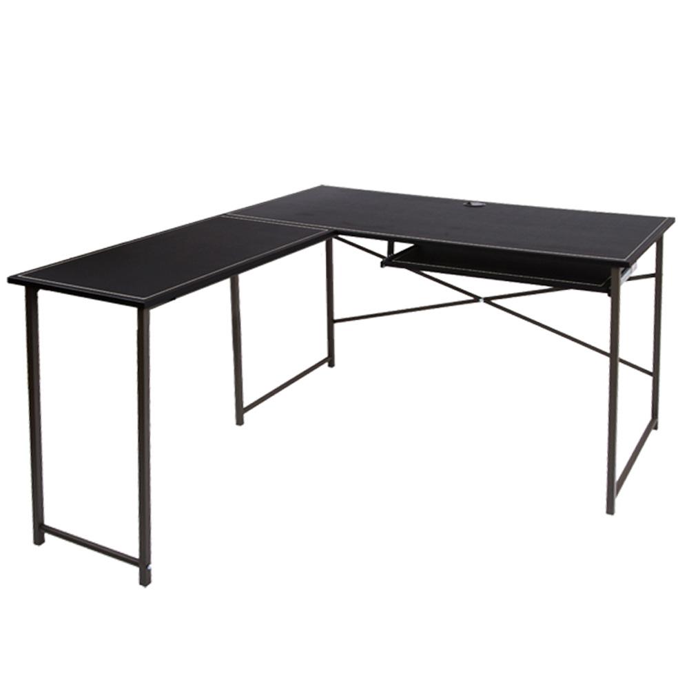 《BuyJM》時尚仿馬鞍黑色皮面L型單鍵工作桌站/電腦桌