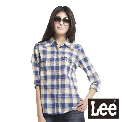 Lee-Sunset-Strip-日落大道-長袖大格紋襯衫-女款-藍