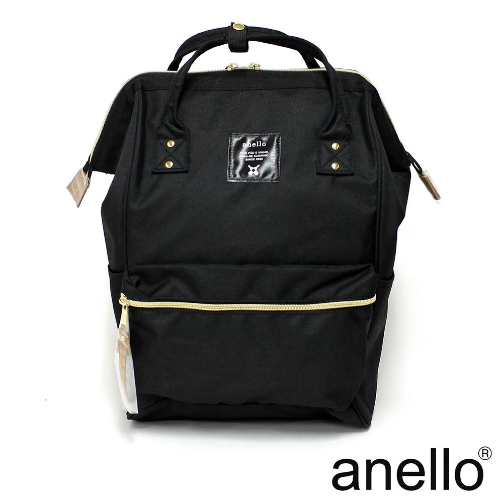 日本正版anello  經典口金後背包 黑色 L
