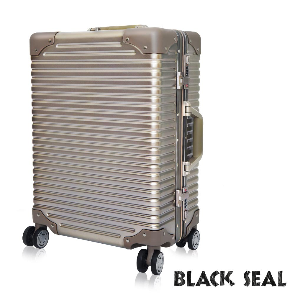 福利品 BLACK SEAL 專利霧面橫條紋系列-25吋防刮耐撞鋁框旅行箱/行李箱-沙灘金