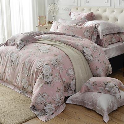 義大利La Belle 花夢仙境 雙人天絲四件式防蹣抗菌舖棉兩用被床包組