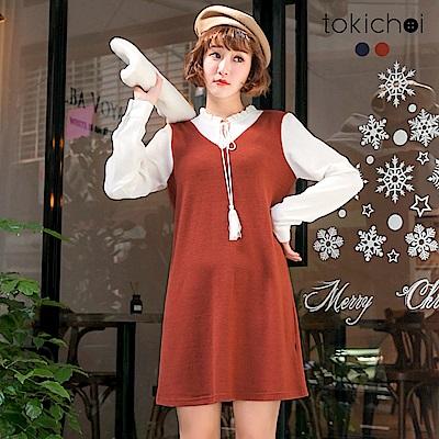 東京著衣 氣質女孩拼接袖領綁帶洋裝-S.M(共二色)