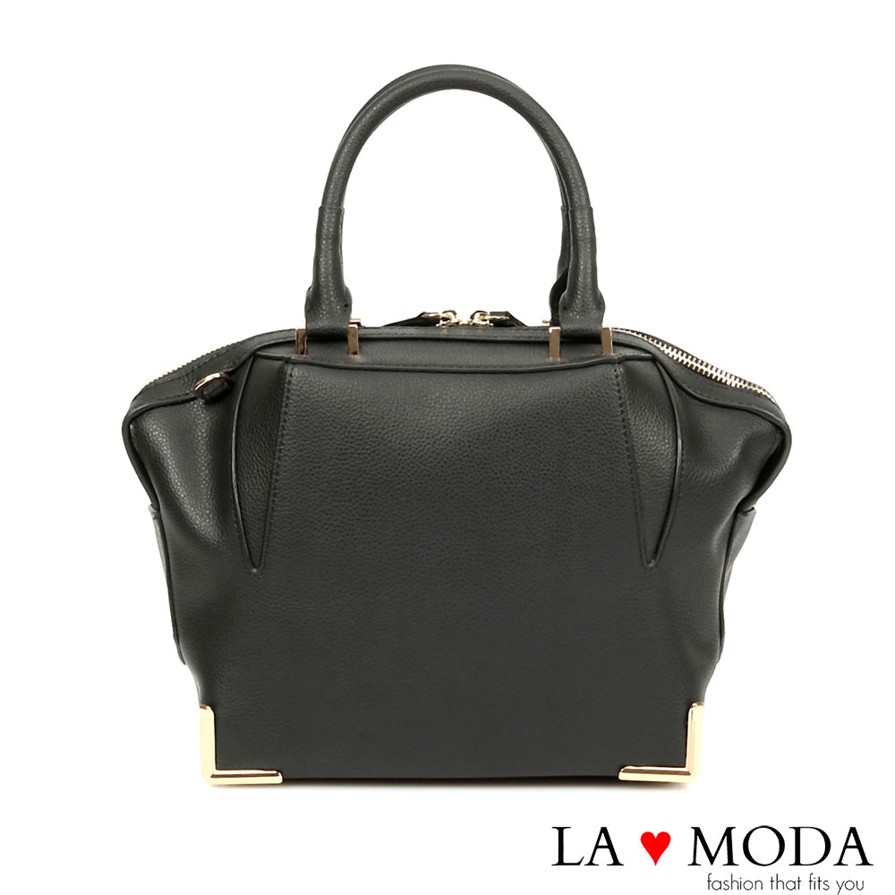 La Moda 名流經典設計系列 - 全真牛皮多重3D曲線手提包(黑)