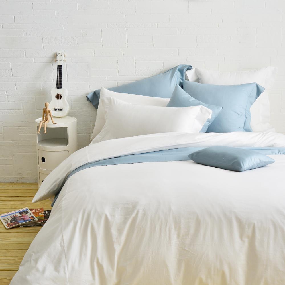 Cozy inn 簡單純色-白 雙人四件組 200織精梳棉薄被套床包組