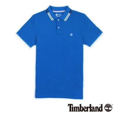 Timberland-男款藍色雙色翻領短袖Polo衫