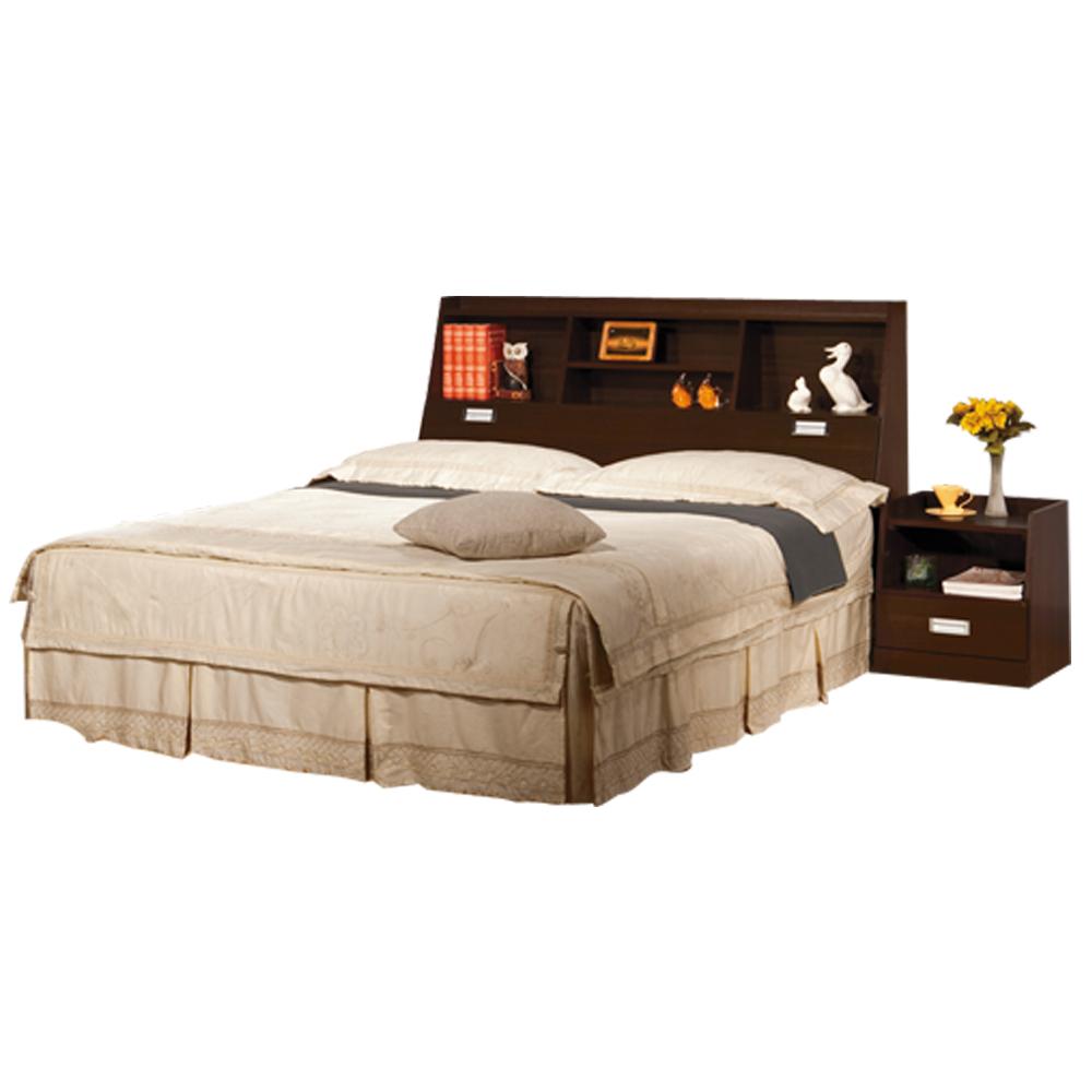 時尚屋 福凱5尺胡桃書架型雙人床70-9(含床頭-床底-床頭櫃)