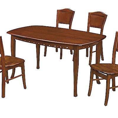 H&D 法式柚木色橢圓桌 (寬127X深82X高75cm)
