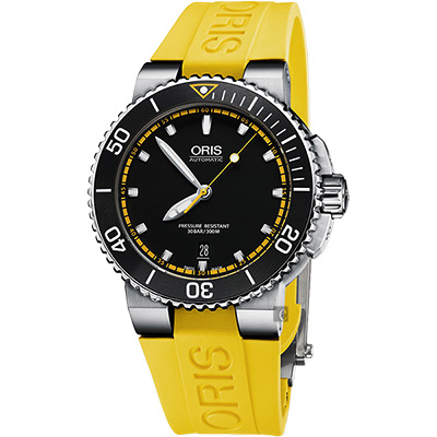 Oris豪利時 Aquis 時間之海潛水機械錶-黑x黃色錶帶/43mm