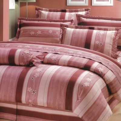eyah宜雅 全程台灣製 100 %精梳純棉雙人特大床罩兩用被全舖棉五件組 粉紅物語
