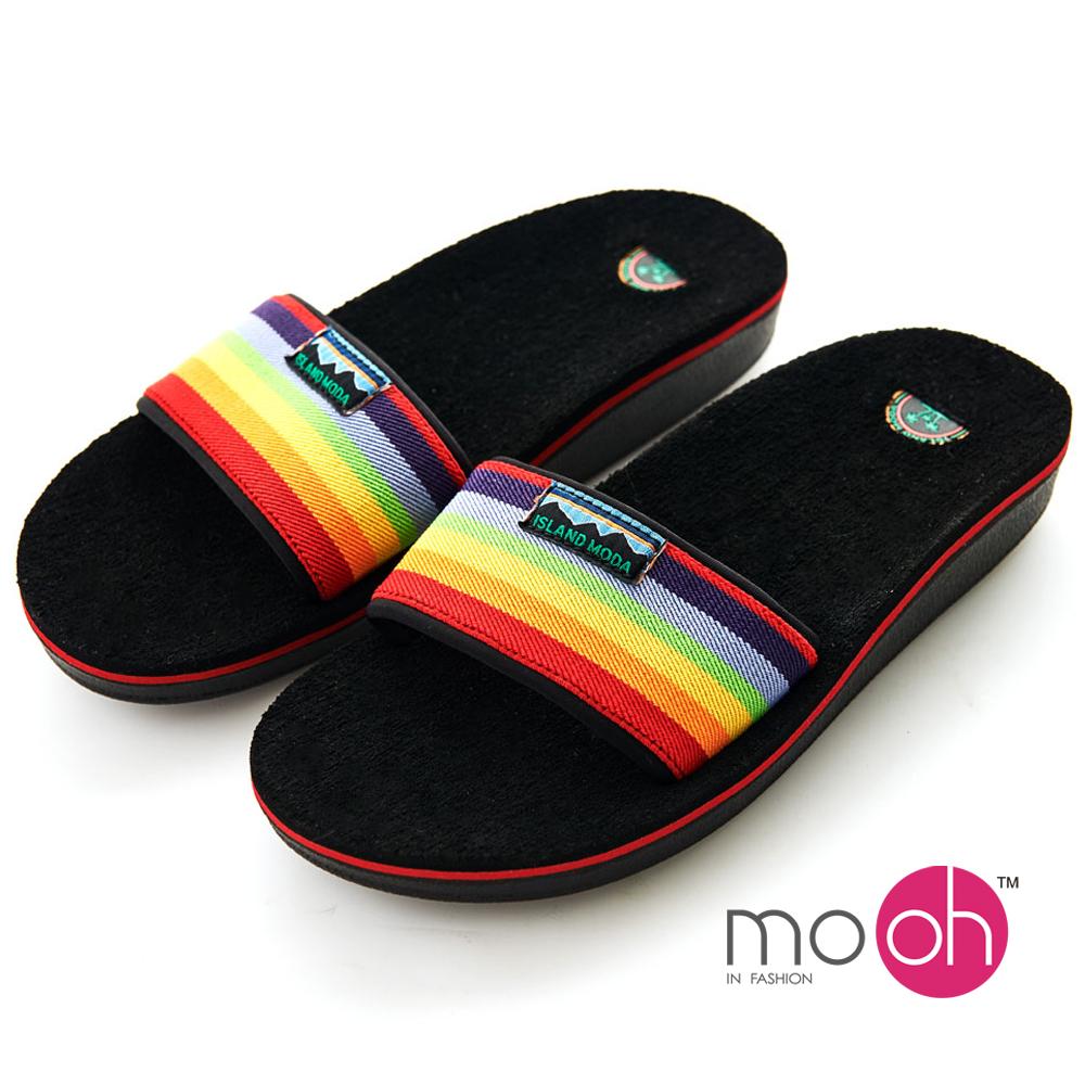 mo.oh 一字帶厚底舒適彩虹涼拖鞋-彩色