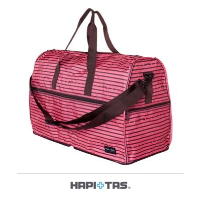 【HAPI+TAS】橫條蝴蝶結折疊旅行袋(大)-粉色