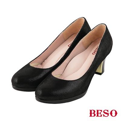 BESO時髦女郎 素面圓頭全真皮粗跟金屬跟鞋~黑