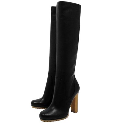 GUCCI 黑色真皮時尚高跟長靴