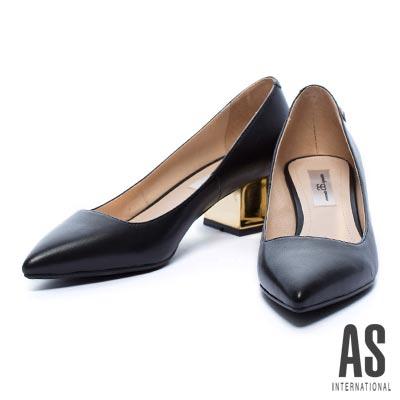 粗跟鞋-AS-獨特星形鉚釘羊皮尖頭粗跟鞋-黑