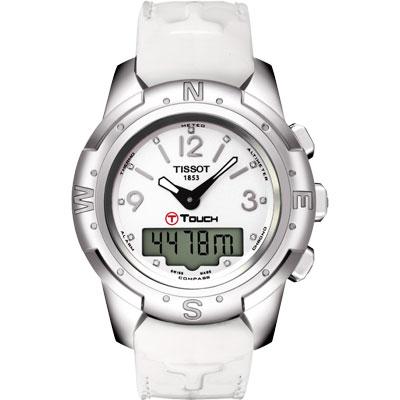 TISSOT T-TOUCH II 鈦真鑽多功能觸控錶-白/42.7mm